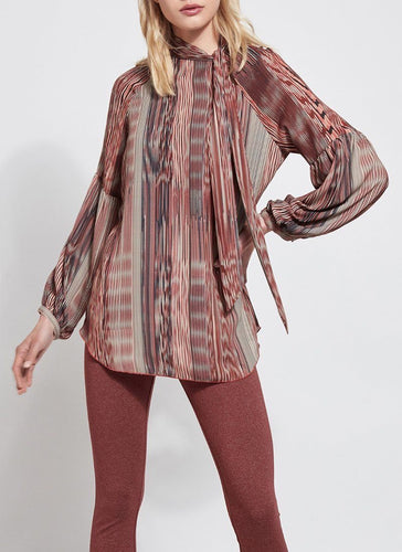 Perry Blouse In Rust Stripes