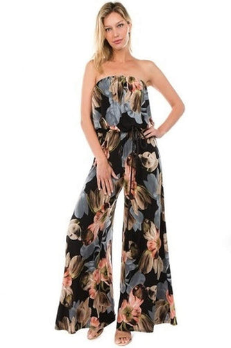 Strapless Jumpsuit in Floral Print