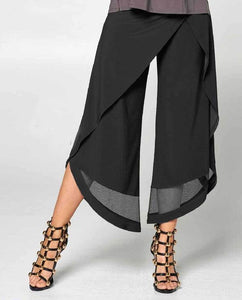 Mesh Cut-Out Flood Pants in Black