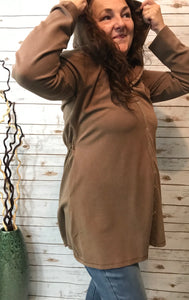Snap Front Hooded Jacket in Taupe