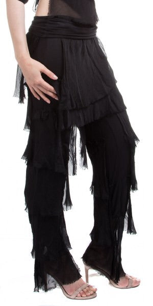 Silk Ruffle Pants in Black