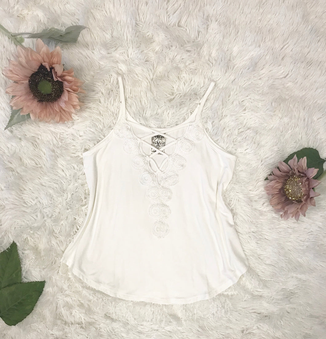 Eyelet Trim Cami In Off White