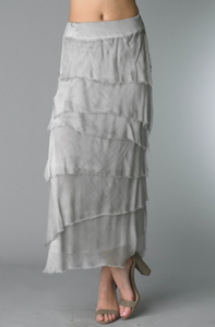 Silk Angled Tiered Skirt in Silver
