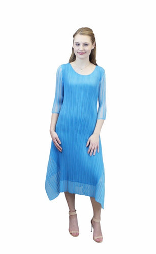 Striped Illusion Crinkle Dress in Blue