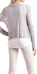 Short Lace-Knit Cardigan