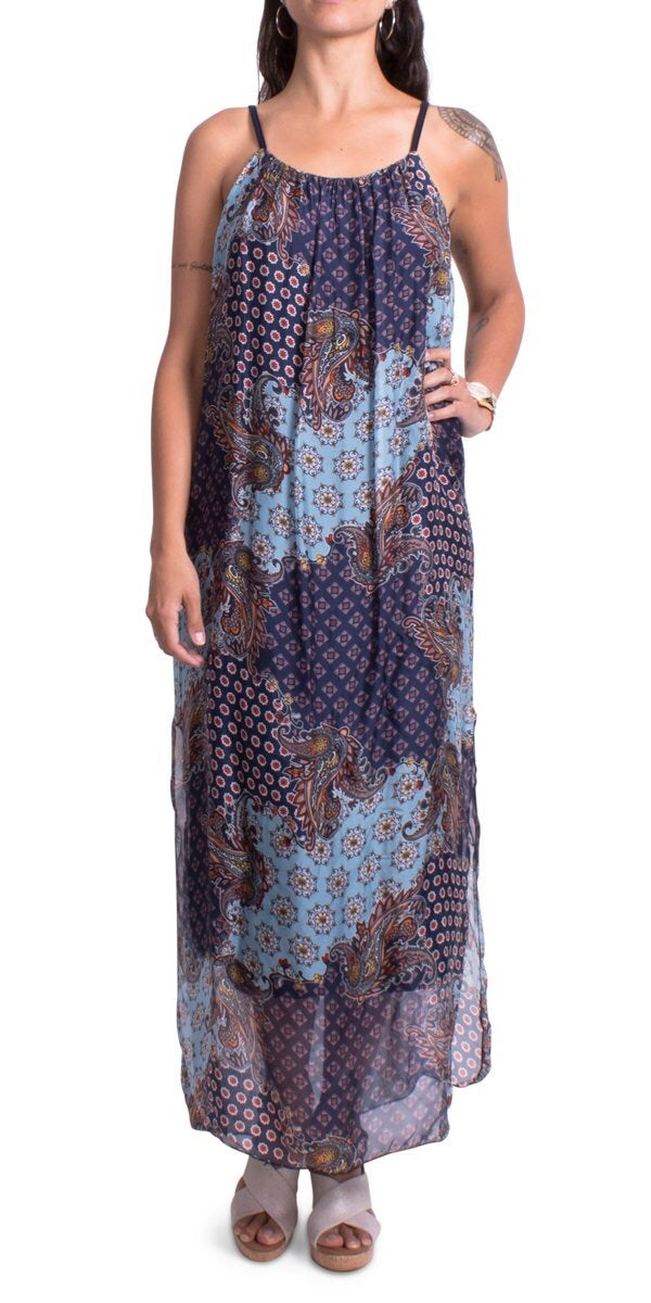 Silk Maxi Dress with Side Slits in Navy Paisley