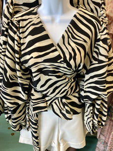 Zebra Wrap Blouse
