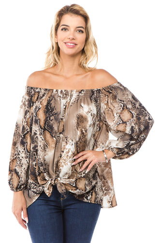 Off Shoulder Tie Front Top in Snakeskin