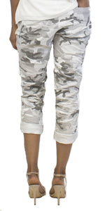Cropped Camo Pant with Silver Studs in White