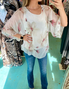 Floral Silk Wide Sleeve Top