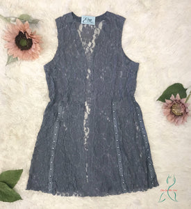Lace Vest Duster in Blue