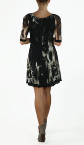 3/4 Sleeves A-Line Trapeze Dress