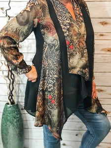 Floral with Black Panel Duster
