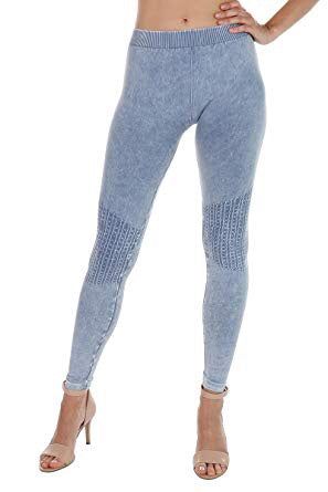 Vintage Knee Shirring Legging in Ice Blue