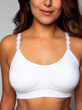 Strap-Its Seamless Bra in White with Embroidered Flower Straps