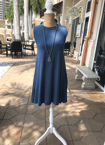 Sleeveless Swing Dress in Blue
