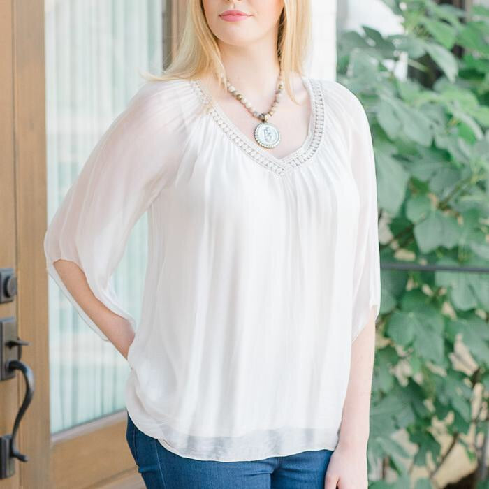 Beatrice V-Neck Crocheted Edge Top in Beige