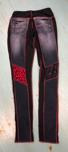 Red & Black Sequin Patch Skinny Leg Jean