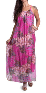 Silk Maxi Dress with Side Slits in Hot Pink Paisley