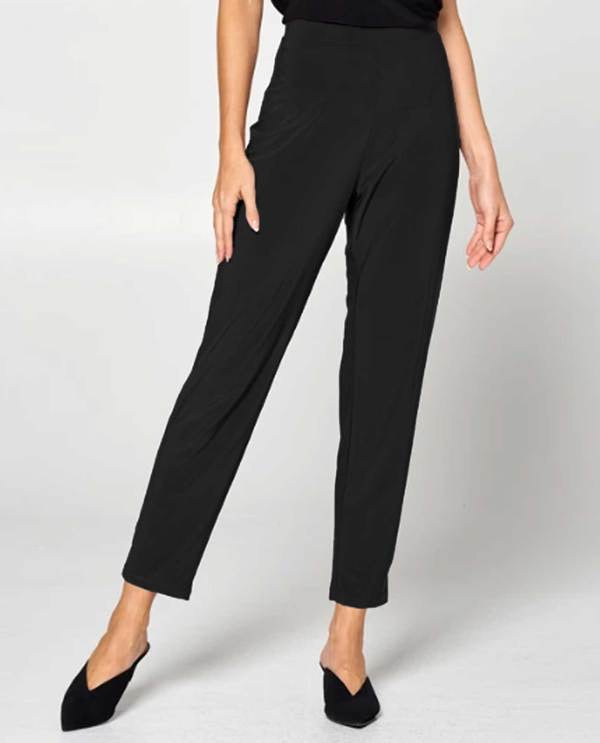 High Waisted Narrow Crop Pants in Black