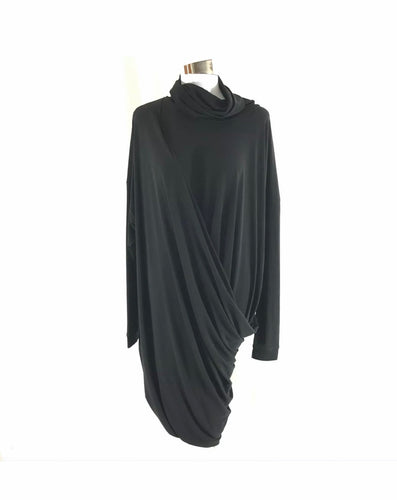 Cowl Neck Long Sleeve Black Dress