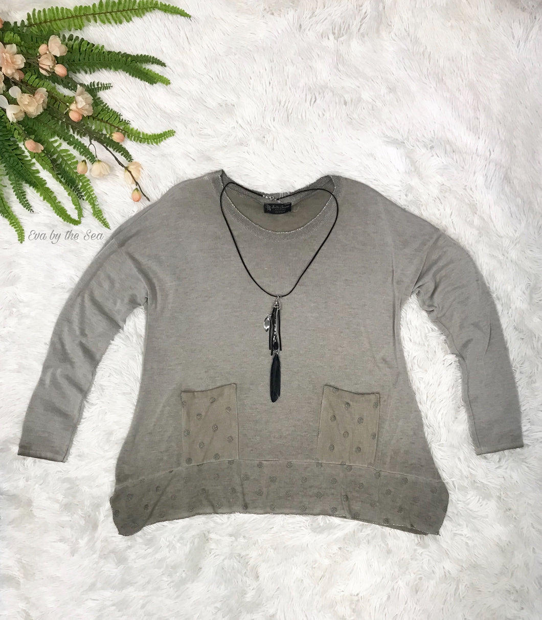 Polka Dot Pocket Top with Necklace in Taupe