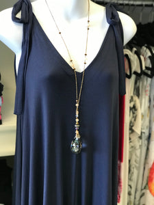 Wide Leg Tie Top Jumpsuit in Navy
