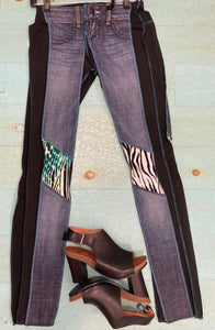 Zebra Print and Blue Patch Skinny Leg Jean