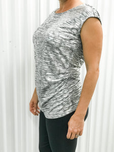 Silver Button Shoulder Top