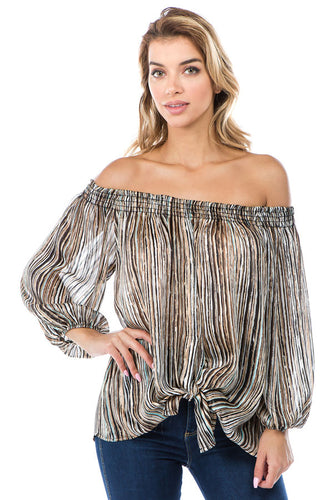 Off Shoulder Tie Front Top in Brown Stripe