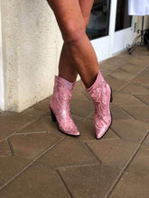 Low Rise Sequin Cowboy Boots in Pink