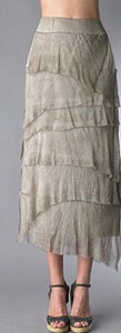 Silk Angled Tiered Skirt in Taupe