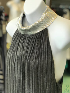 Shimmer Pleats Sleeveless Dress Black/Silver