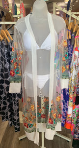 Embroidered Sheer Duster in White