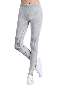 Vintage Knee Shirring Legging in Cool Grey