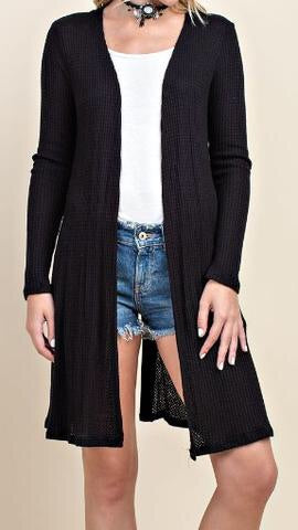 Lace-Up Back Waffle Duster in Black