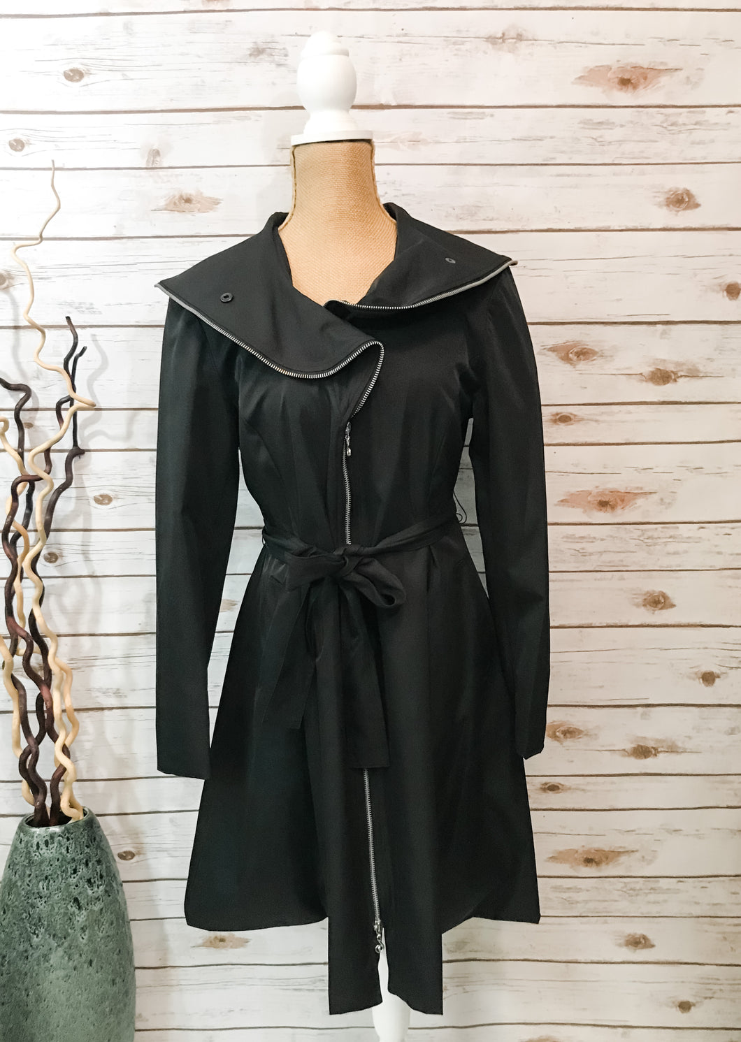 A-Line Zip Coat in Black
