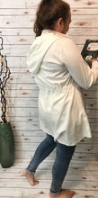 Snap Front Hooded Jacket in Winter White