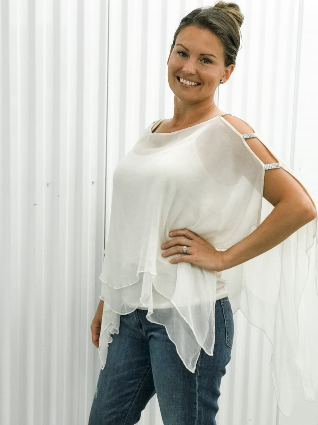Flowy Top w/Gem Ladder Sleeve
