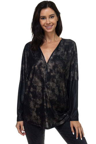 Dolman Sleeve Zipper Front Top in Black with Pleather Sleeves
