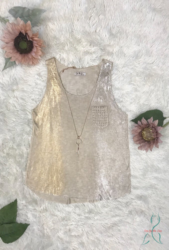 Embroidered Pocket Knit Tank Top Silver/Gold Shimmer in Beige