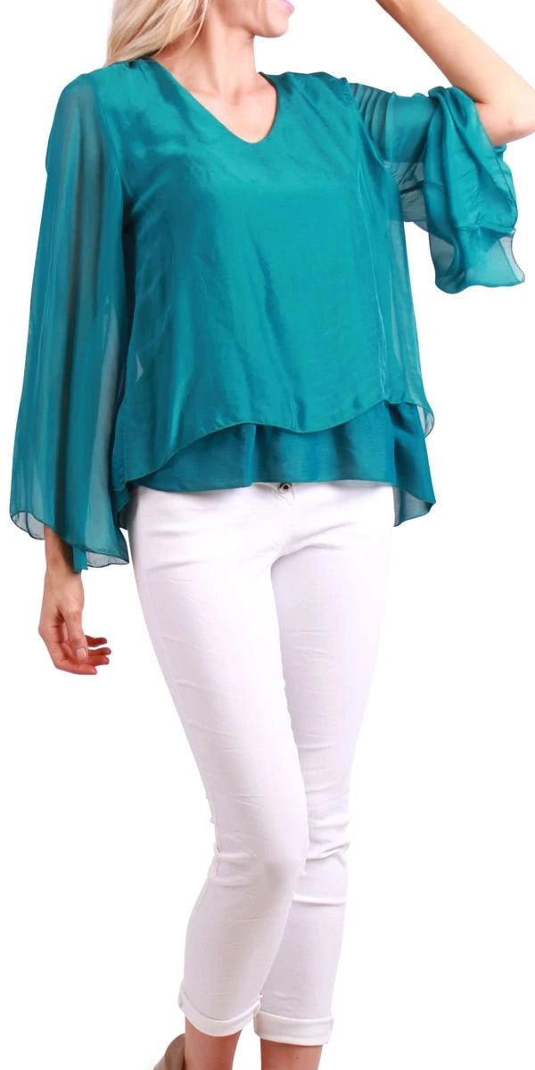 Bell Sleeve Layered Silk Top