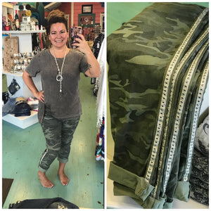 Cropped Camo Pant with Silver Studs in Olive