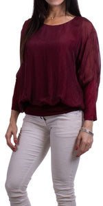 Silk Blouse with Band in Burgundy
