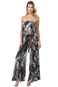Strapless Jumpsuit in Snakeskin