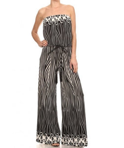Strapless Jumpsuit black and white Print W/Braided Belt