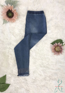 Jegging with Crystal Detail in Denim