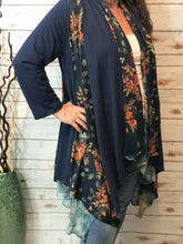 Reversible Floral Knit Duster in Navy