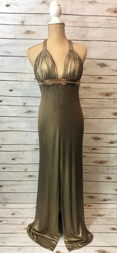 Halter Ball Gown in Bronze
