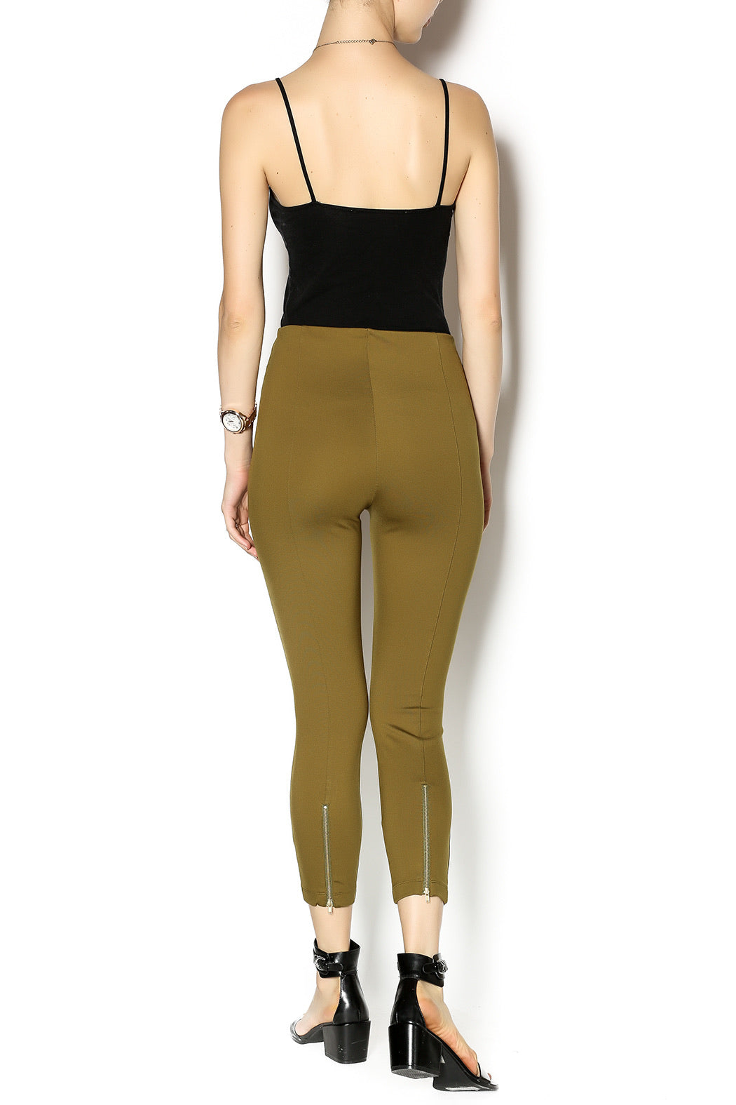 Zipper Back Capri Legging in Kelp